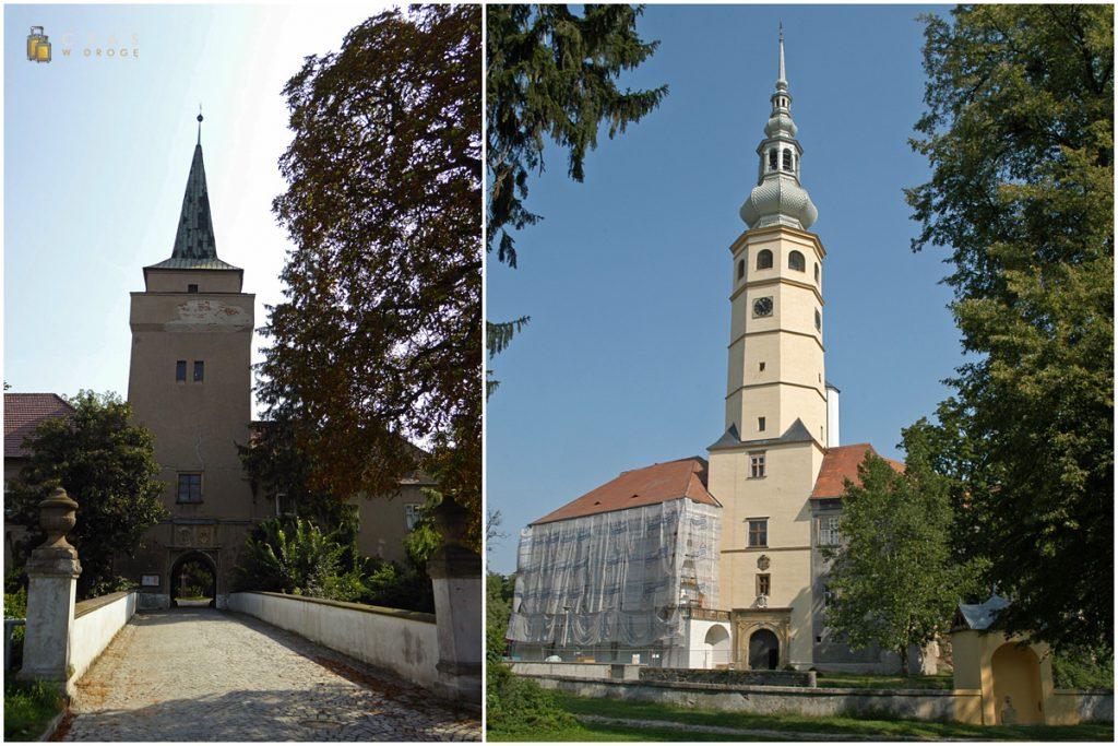 Niepozorne wejście do zamkowego parku / Zamek Tovačov w całej okazałości