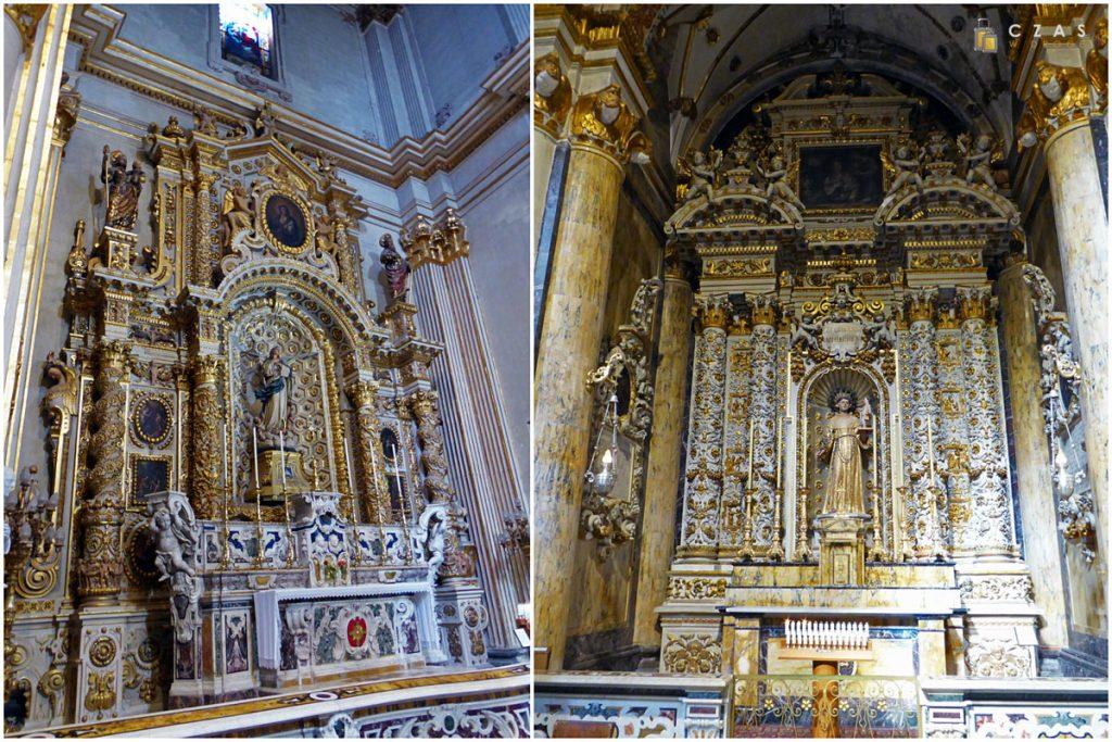Bogato zdobione ołtarze w kaplicach bocznych katedry