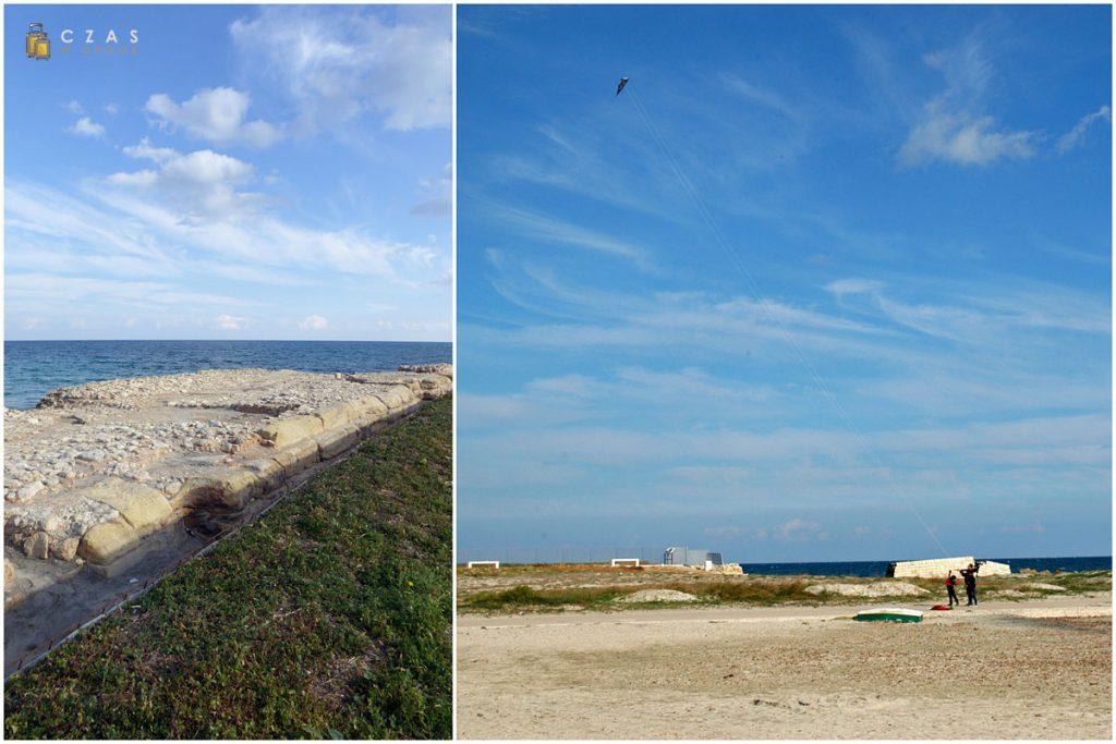 San Cataldo - fragment rzymskiego nabrzeża / Pogoda była idealna na puszczanie latawców :)