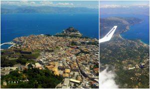 Widok na Korfu z powietrza
