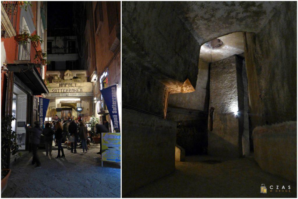 Wejście do Napoli Sotterranea / Jedno z wykutych pomieszczeń