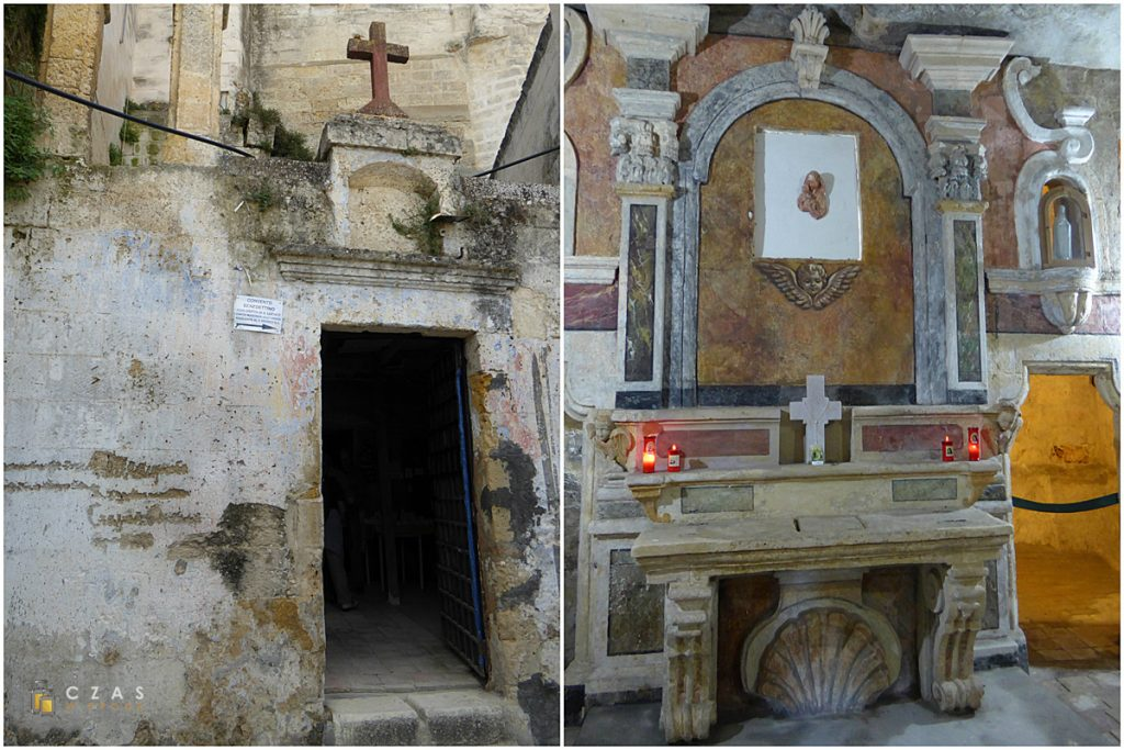 Niepozorne wejście do Convento Benedettino / Pierwsze pomieszczenie przed zagłębieniem się w budynek