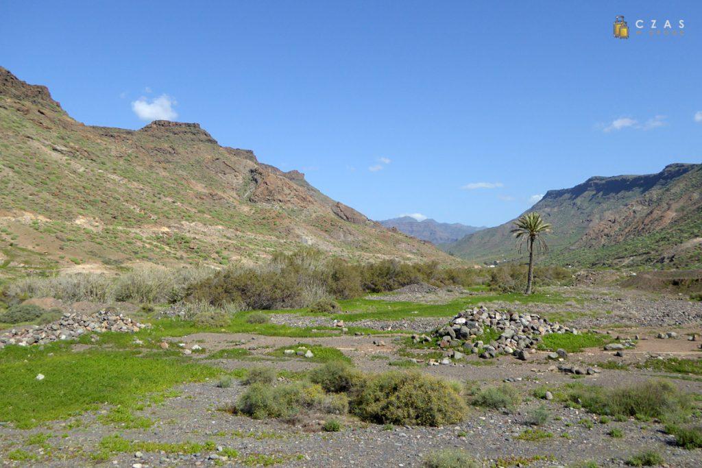 Widok z plaży w stronę Barranco de Veneguera