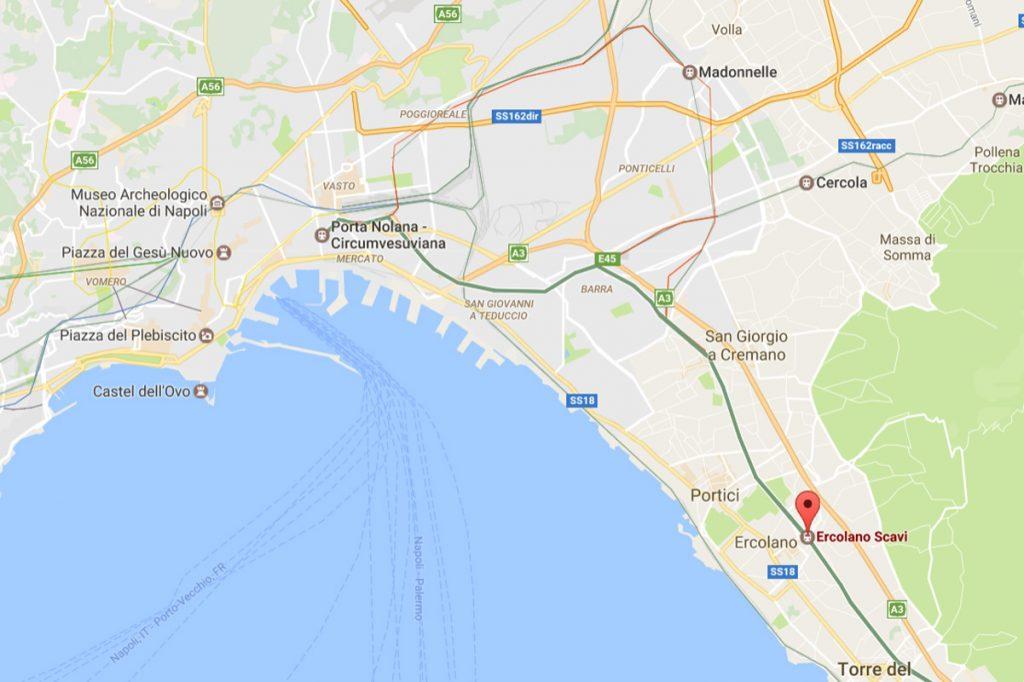 Trasa kolejki Circumvesuviana z zaznaczoną stacją Ercolano Scavi / Google Maps