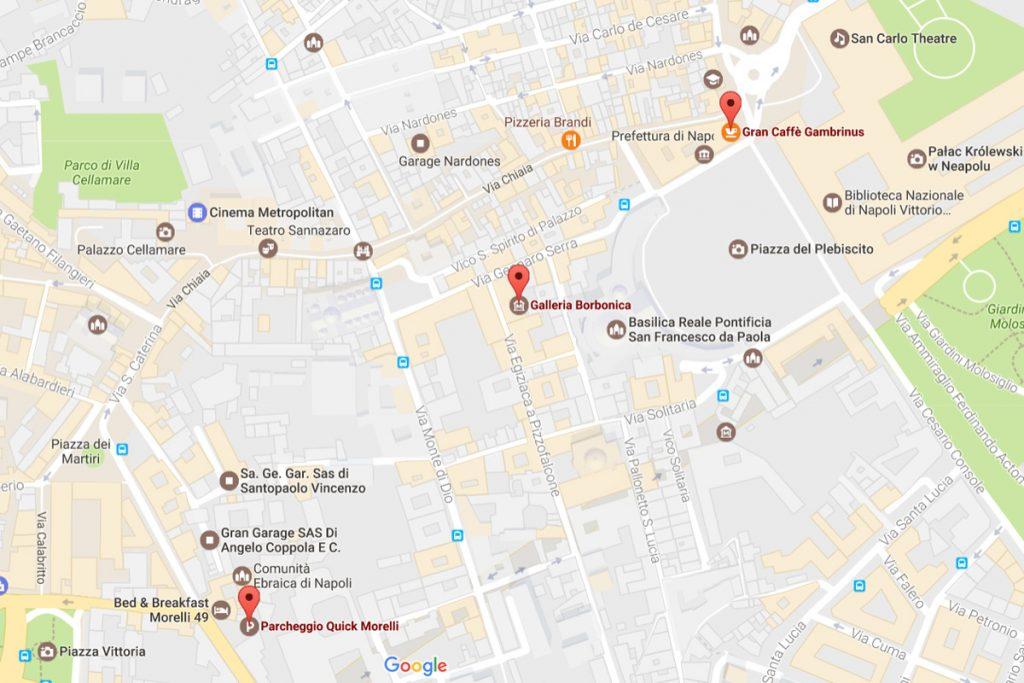 Wejścia do Galleria Borbonica oraz Bar Gambrinus - miejsce spotkania dla Napoli Sotterranea / Google Maps