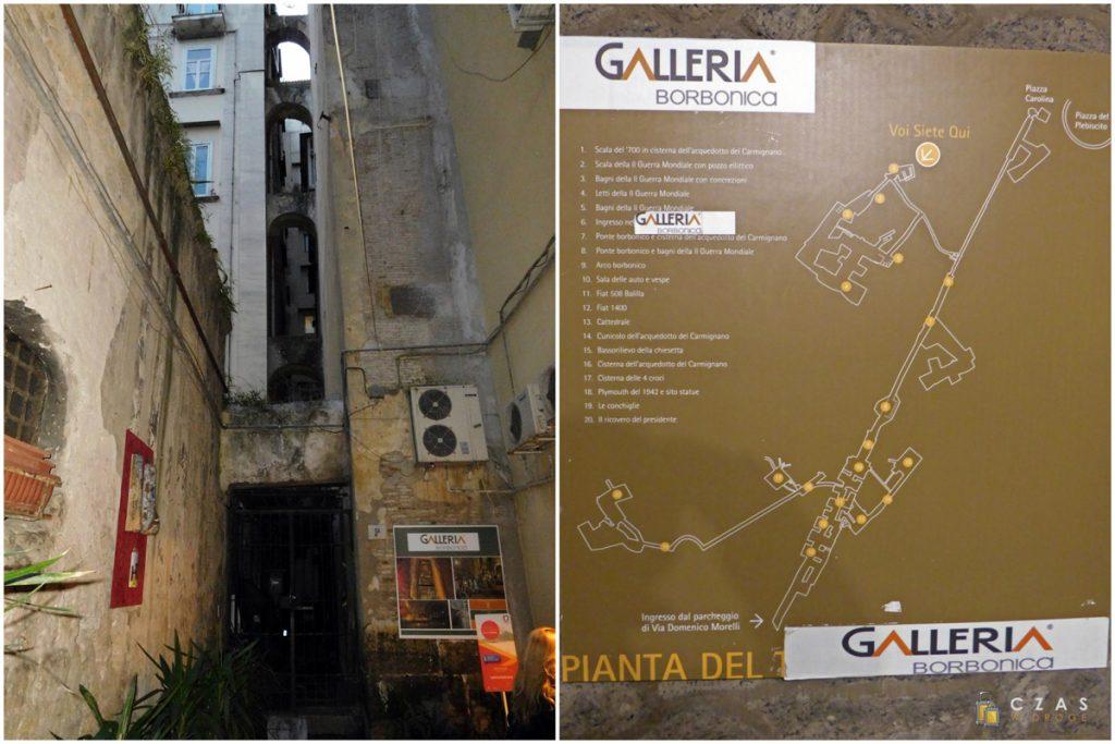 Uliczka z wejściem do Galleria Borbonica / Plan podziemi