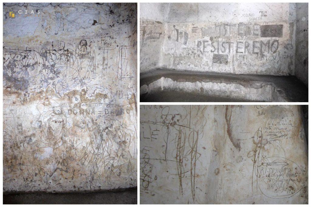 Ściany schronów są pełne rysunków i napisów