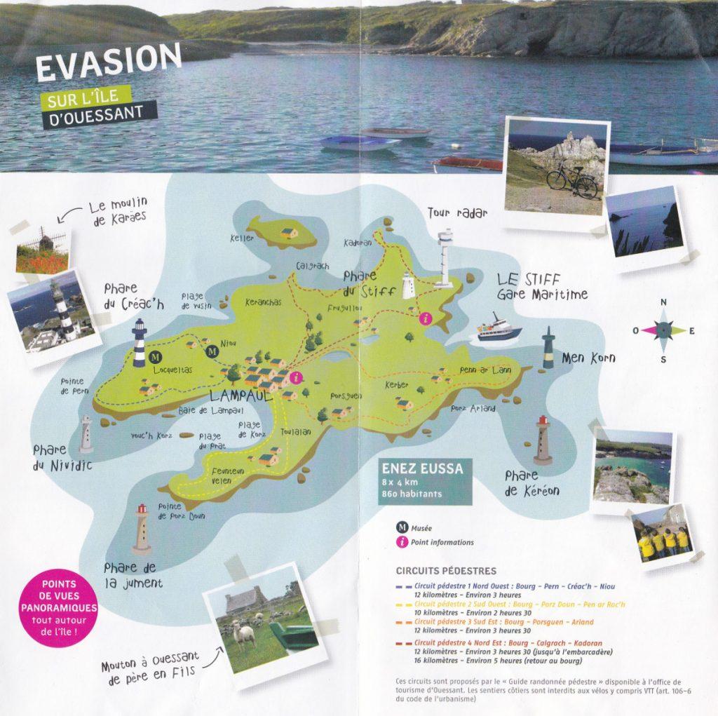 Mapa wyspy zeskanowana z ulotki firmy Penn Ar Bed