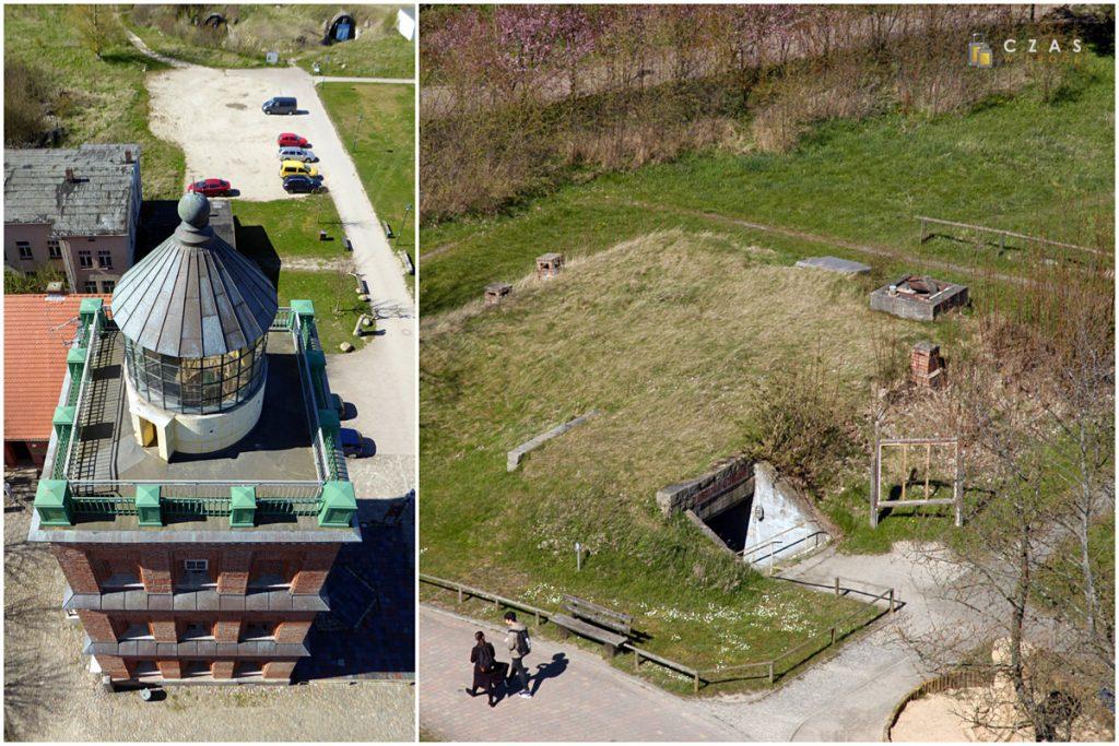 Widoki z góry: Schinkelturm oraz jeden z bunkrów