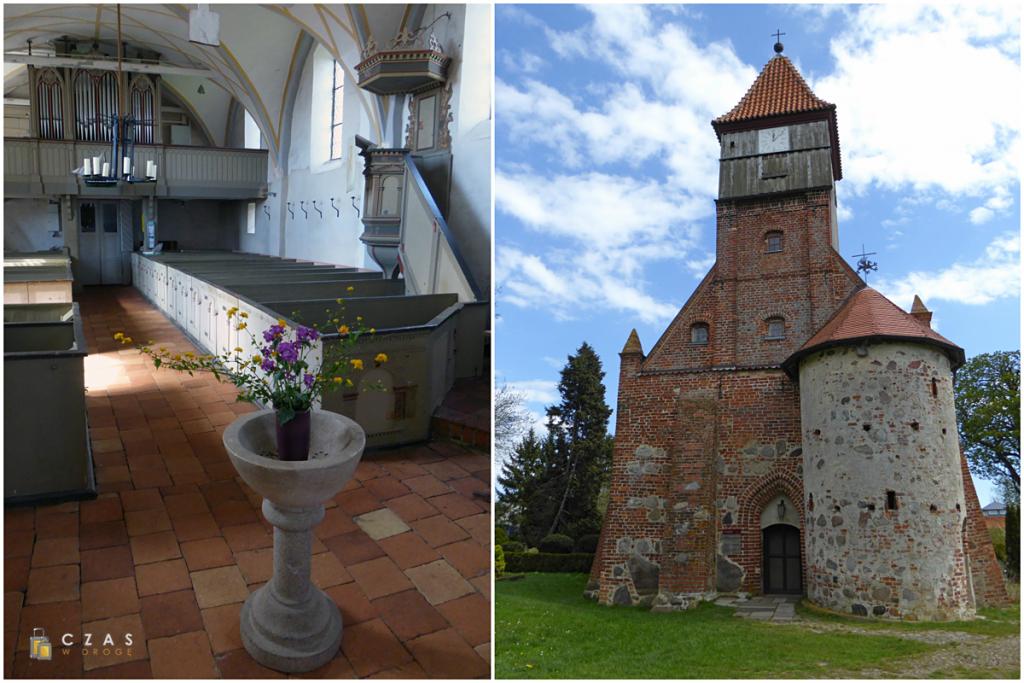 Wnętrze i fasada kościoła w Middelhagen