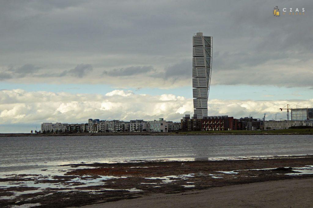 Widok z plaży Ribersborg na Västra Hamnen
