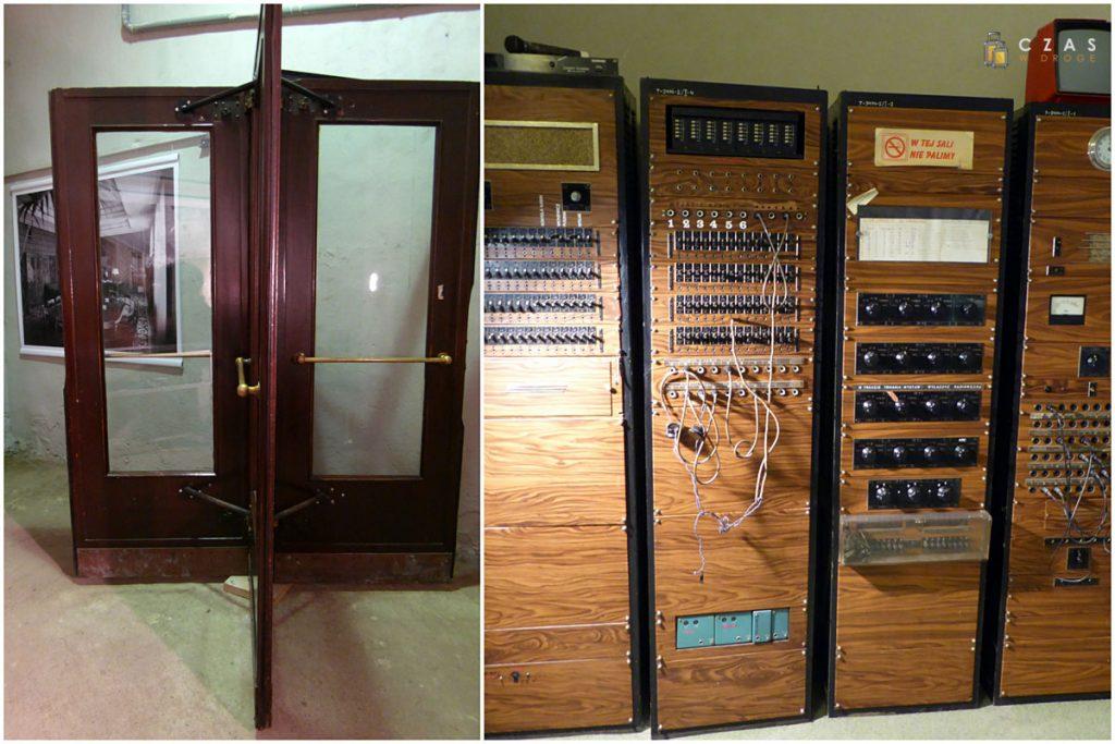 Stare pałacowe drzwi obrotowe i centrala telefoniczna