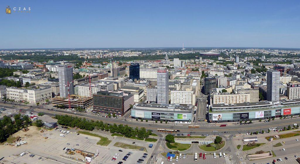 Panorama Warszawy z tarasu widokowego Pałacu Kultury i Nauki