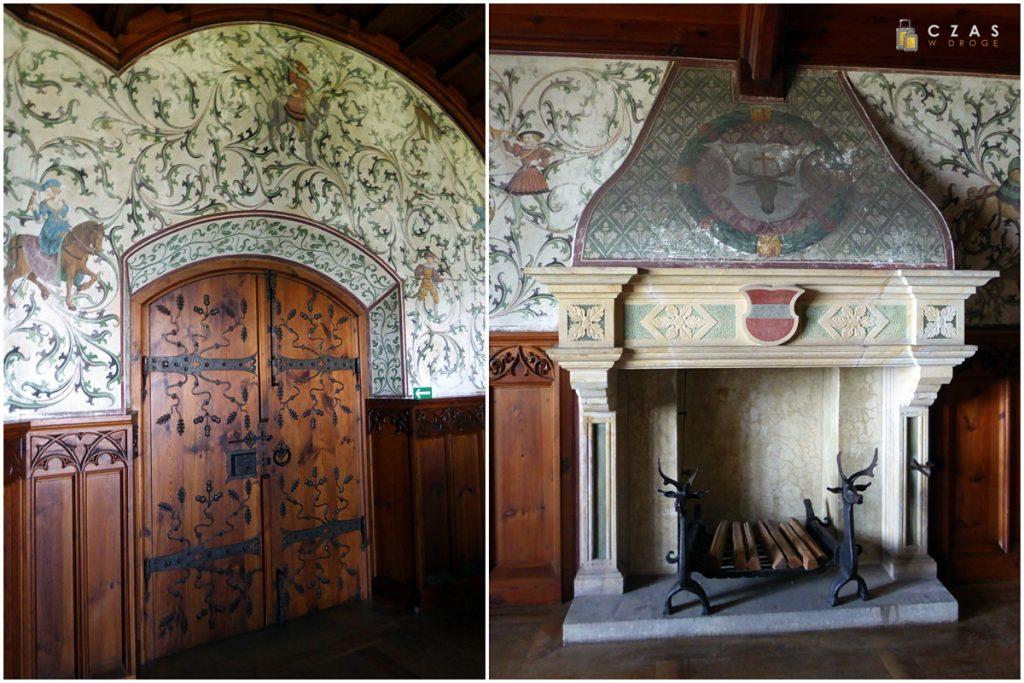 Pięknie zdobione ściany i kominek