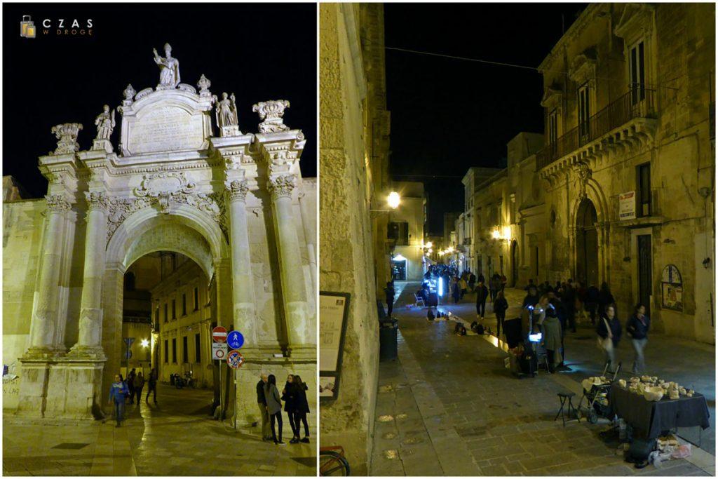 Lecce - Porta Rudiae i prowadząca do niej Via Giuseppe Libertini