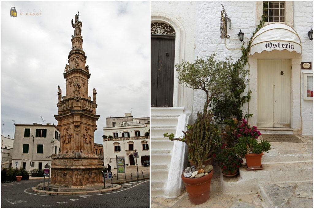 Kolumna z patronem miasta - św. Oronzo / Jedna z uliczek Ostuni
