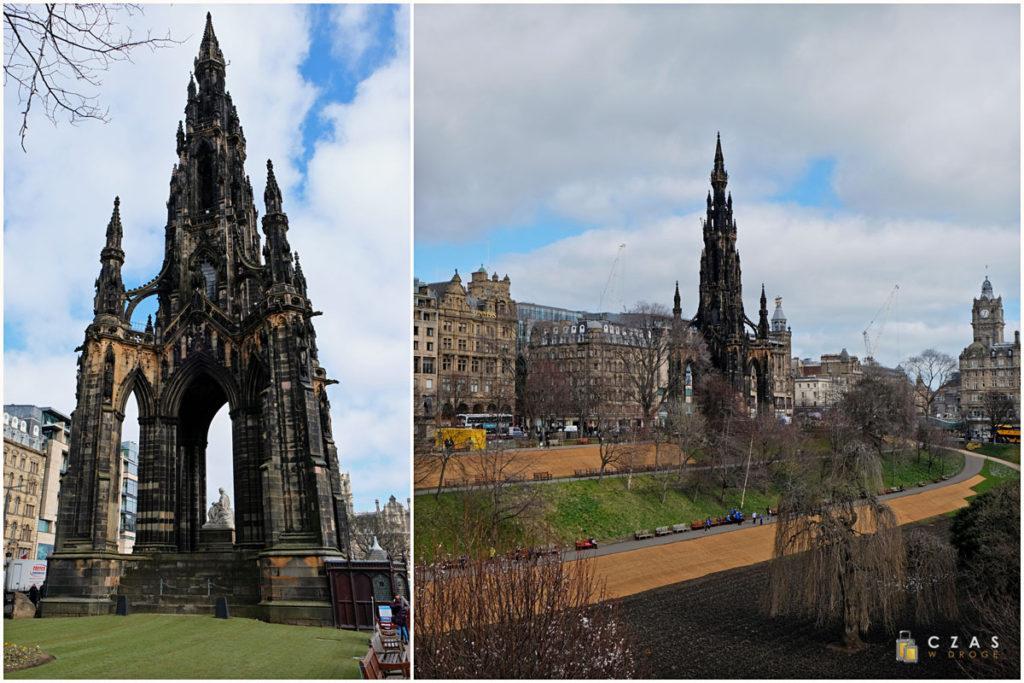 Scott Monument w całej okazłości oraz widziany z okolicy National Gallery of Scotland