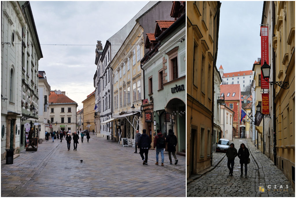 Ul. Michalská / Widok na zamek z wylotu jednej z uliczek